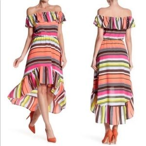 Charles Henry Ruffle Multi Colored Stripped Dress